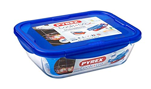 Pyrex Easy Wash Cook & Go Rectangular Container with Lid Large 3.3 Litre Blue (Pack of 2)
