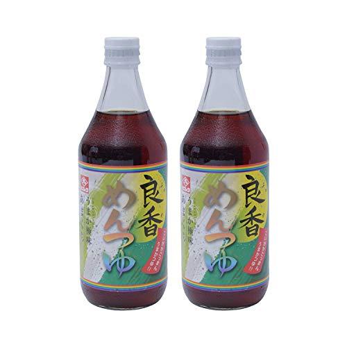 [藤安醸造(ヒシク)] めんつゆ 良香 (甘口) 500ml×2本 保存料無添加のストレートタイプ