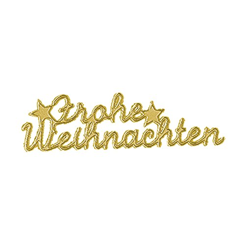 Rayher 3361206 Klebeschrift: Frohe Weihnachten, Bogen 10x24,5 cm, gold