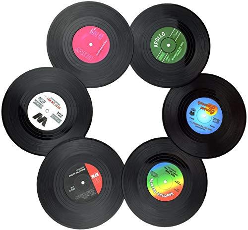 XYDZ Bevande Vinile Sottobicchieri, Set di 6 Sottobicchieri, Anti-Skid Retro Vinyl Record Tappetini Tovagliette, per Bevande e Tazze