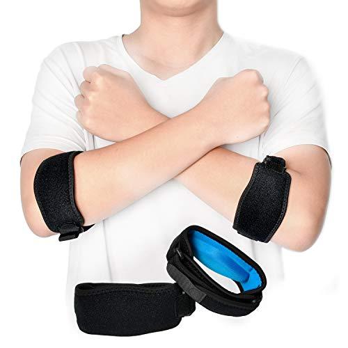 Ellenbogenbandage Tennisarm Bandage Einstellbar Armspange für Damen und Herren, Ellenbogenorthese mit Kompressionspolster, Schmerzlinderung Beim Golfer und Tennisellenbogen Unterstützung, 2er-Pack