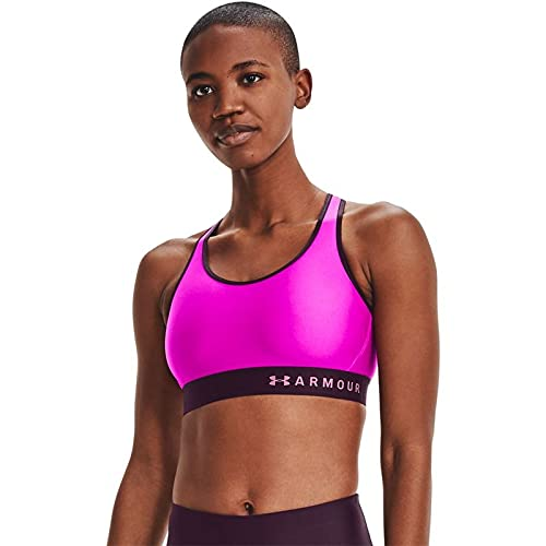 Under Armour Women's Armour Mid Keyhole Sports Bra , Meteor Pink (660)/ Planet Pink , X-Small