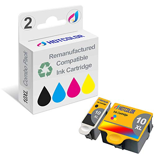 HOTCOLOR 2Pack Color & Black Kodak 10XL 10 Remanufactured Replacement for Kodak 10B 10C Combo Ink Cartridge Kodak ESP 3 3250 5 5210 5250 6150 7 7250 9 9250