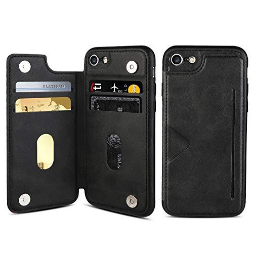 AINIMI Funda de Cuero para iPhone 6S, Funda de Billetera para iPhone 6 con Tarjetero, Funda de Cuero de PU de Primera Calidad con [Soporte][Dos Cierre magnético][Ranuras para Tarjetas],F (Black)