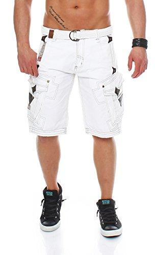Geographical Norway Herren Cargo Shorts Cargoshorts Bermuda Kurze Hose mit Gürtel Parapente (XL, Weiß)