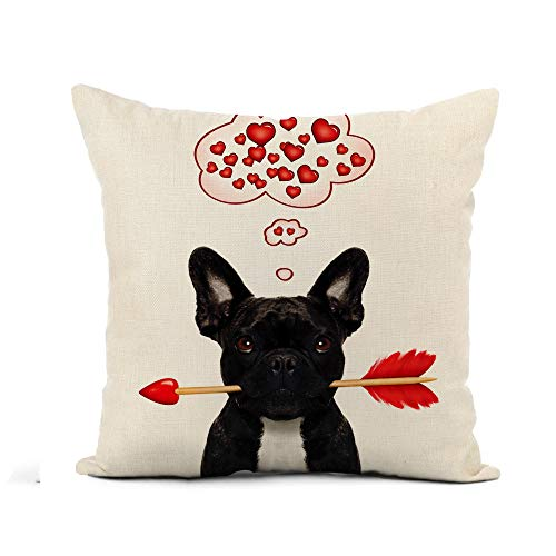 Awowee Flax Throw Pillow Cover Valentines French Bulldog Dog in Love Holding Cupids Arrow 16x16 Inches Pillowcase Home Decor Square Cotton Linen Pillow Case Cushion Cover