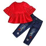 Proumy ◕ˇ∀ˇ◕Baby Kleidung Set, Baby Body Kleinkind Neugeborenes Baby Mädchen Kinder Langarm Rüschen Top + Loch Jeans Hose Kinder Kleidung (rot,24 Months)