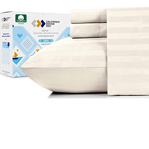 Pure Cotton Ivory Queen Sheets - 500 Thread Count 4 Piece Sheet Set, Easy Care Damask Stripe Sateen...
