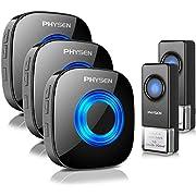 Wireless Doorbell, PHYSEN 1000ft Long Range Door Bells, IP55 Waterproof Doorbell, 2 Push Buttons & 3 Plug in Receivers Cordless Door Chime Kit, 58 Chimes, 5 Volume Levels, Mute Mode, Blue LED Light