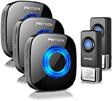 Wireless Doorbell PHYSEN Door bell Chimes with Mute Mode,58 Doorbell Wireless, 5 Volume Levels,1000-ft Range,Doorbell for Home with LED Strobe,Mute Mode -Model CW,Black (2 Buttons+3 Receivers)