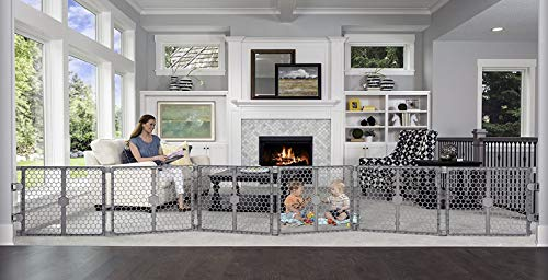 Regalo Plastic 192-Inch Super Wide Adjustable Baby Gate and Play Yard, 2-In-1, Bonus Kit, Includes 4 Pack of Wall Mounts