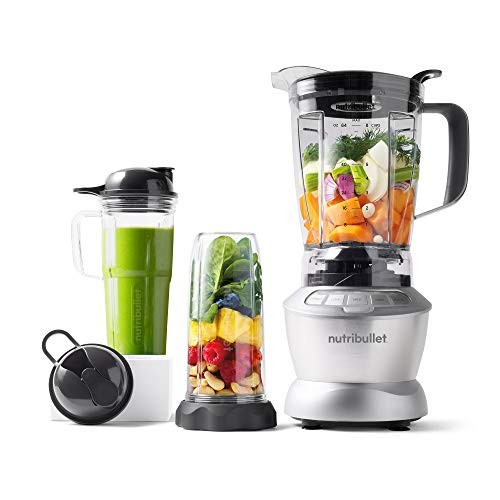 NutriBullet COMBO-Series - NEUESTE GENERATION - 1200 Watt - Nährstoff-Extraktor Smoothie Maker - 1,8L Pitcher für heiße und kalte Zutaten & incl 3 Misch- / Trinkbecher - 11-teilig - Silber