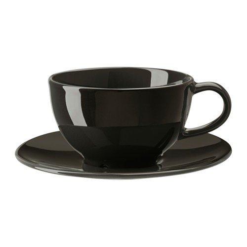 IKEA VARDAGEN Teetasse mit Untertasse; in dunkelgrau; aus Steinzeug; (26cl)