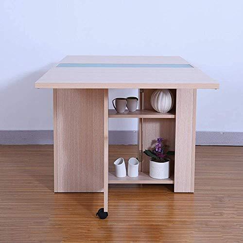 Einfache und kreative Dekoration Möbel Klapp Esstisch Tropfen-Blatt Ausziehbare Multifunktionstabelle erweiterbarer Tabellen Folding Küchentisch mit Lagerregal, Y-Z, Weiß, 140x80x72 MXY