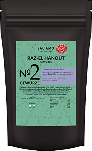 Raz el Hanout Gewürzmischung, Ras El Hanout, afrikanisches Gewürz, mild pikant marokkanische Spezialität für Couscous | Saliamo