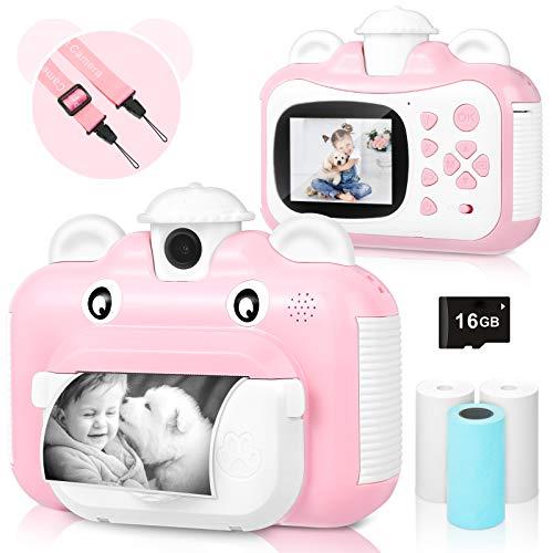 Kinderkamera, WiFi Print Kamera für Kinder, 1080P HD Videokamera mit 2,4 Zoll Screen, Sofortbildkamera Schwarzweiß-Fotokamera mit 16 GB SD-Karte und 3 Rollen Druckpapier, Geschenk für Kinder (Rosa)