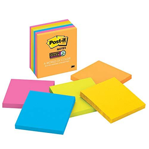 Post-it Super Sticky Notes, 7,6 x 7,6 cm, 6 blocos, 2 x The Sticking Power, coleção Rio de Janerio, cores brilhantes (laranja, rosa, azul, verde), reciclável (654-6SSAU)