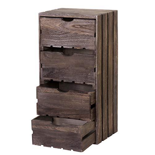 Mendler Kommode HWC-C62, Schubladenkommode Holzkiste, Shabby-Look Vintage, 4 Schubladen 70x32x26cm - braun