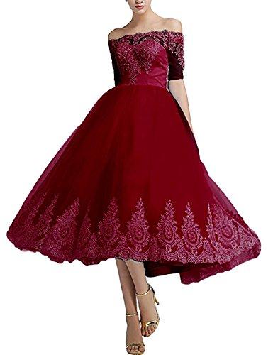 Tulle Off-the-shoulder Burgundy 2016 Wedding Dress