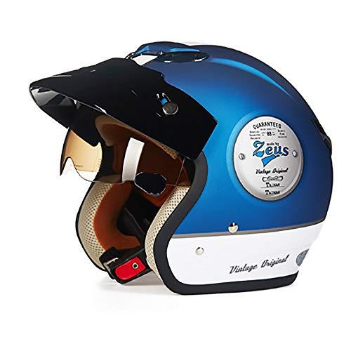 FAGavin Casco de motocicleta silencioso, color azul, ABS, para adultos, para montar en coche, eléctrico, motocicleta, casco de bicicleta de montaña, equipo de equitación al aire libre (tamaño L: L)