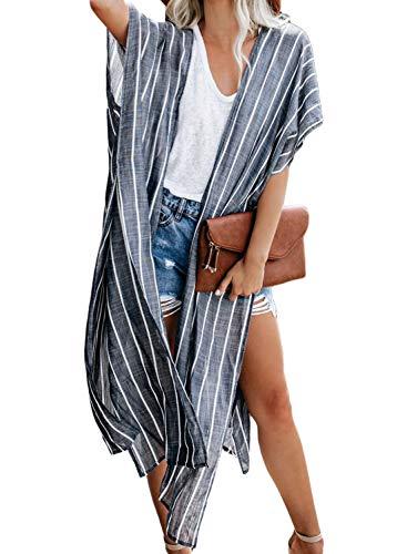 Happy Sailed Damen Kurzarm Druck Strand Kimono Strand Cardigan Strand Jacke OneSize (Einheitsgröße, 4 Blau)