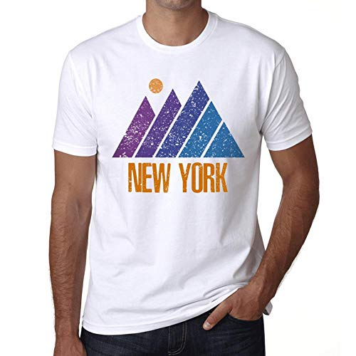 Hombre Camiseta Vintage T-Shirt Gráfico Mountain New York Blanco