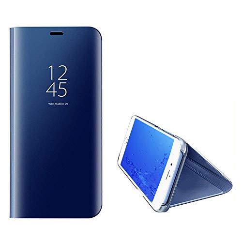 Yobby Spiegel Hülle für Samsung Galaxy A7 2018/A750,Handyhülle Technologie Überzug Durchsichtig Clever Aussicht Fenster Stand PC Flip Cover Schlank Schutzhülle-Blau