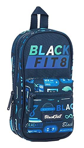 Blackfit8 Plumier Mochila con 4 Portatodo Llenos Reciclable Logos Retro, 120x50x230 mm