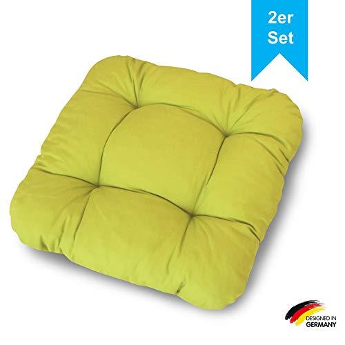 LILENO HOME 2er Set Stuhlkissen Grün (38x38x8 cm) - Sitzkissen für Gartenstuhl, Küche oder Esszimmerstuhl - Bequeme UV-beständige Indoor u. Outdoor Stuhlauflage als Stuhl Kissen