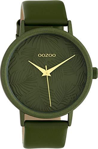 Oozoo Damenuhr mit Lederband 42 MM Colours of Summer Palmen Zifferblatt Unicolor Dunkelgrün C10173