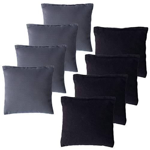 YAADUO Set of 8 Regulation Cornhole Bags, Weather Resistant Standard Corn Hole Bean Bags for Tossing Game, Includes Tote Bags (Black/Grey)