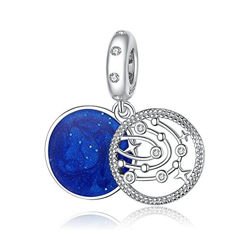 LISHOU Auténtica Plata Esterlina 925 Fantasy Galaxy Charms Hollow Design Charm Beaded Colgante Fit Pulsera Original Collar Beads DIY Fabricación De Joyas
