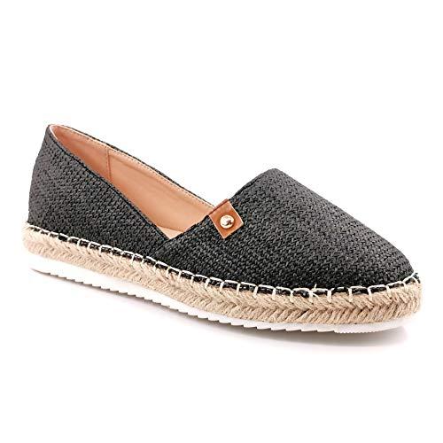 Angkorly - Damen Schuhe Espadrille - Strand - Slip-on - Böhmen - mit Stroh - Geflochten - Nieten-Besetzt Flache 3 cm - Schwarz 11 LX-59 T 37