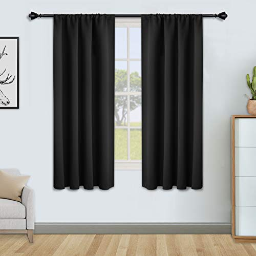 FLOWEROOM Blackout Curtains for Bedroom - Thermal Insulated Rod Pocket Window Curtains, Darkening Curtain for Living Room, Black, 2 Panels, W46 x L54 inch (117cmx137cm)