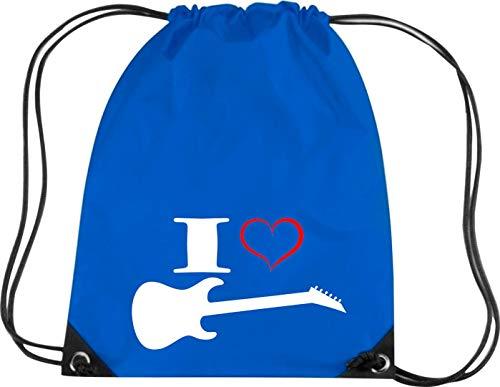 Camiseta stown Premium gymsac Música I Love–Guitarra eléctrica, azul cobalto