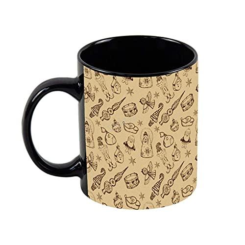N\A Taza de café de cerámica Juguetes Decoraciones Dibujado a Mano Novedad Taza de té de café Navidad Regalos de cumpleaños, 11 oz