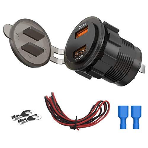 Fransande QC3.0 - Toma de cargador doble USB de 36 W, adaptador de toma de corriente estanca a carga rápida 3.0 para moto marina de barco de coche, 12 V/24 V