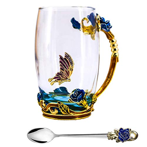 Tea Cup, Mothers Day Gifts, Coffee Mug, Clear Glass Cups with Spoon Set, Lead Free Handmade Butterfly, Unique Rose Flower Enamel Design, Birthday Decoration Wedding Gift Ideas (Blue Tall)