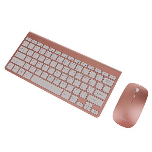 Homyl El Teclado Sin Hilos Y El Ratón Sin Hilos Impermeables 2.4g Combinan para El Ordenador Portátil - Oro Rosa