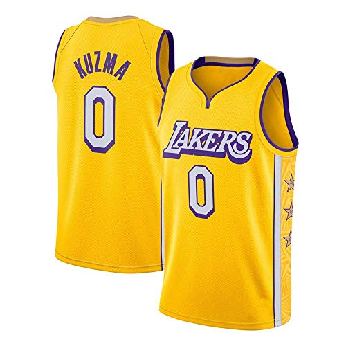 WSUN Lakers NBA # 0 Kyle Kuzma Camiseta De Baloncesto para Hombre NBA Camiseta Sin Mangas Unisex Camiseta Bordada De Malla De Baloncesto Swingman Jersey,A,M(170~175CM/65~75KG)