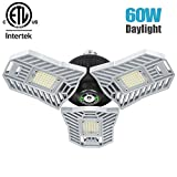Falive LED Garage Light 60W 6000LM Garage Lighting Super Bright Garage Lights with Adjustable Multi-Position Panels Tribright Garage Ceiling Light Bulb for Garage, Attic, Basement (No Sensor)