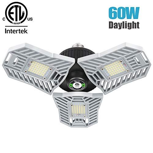 Falive LED Garage Lights 60W 6000LM Garage Lighting Super Bright Garage Lights with Adjustable Multi-Position Panels Tribright Garage Light Bulb for Garage, Attic, Basement (No Sensor)