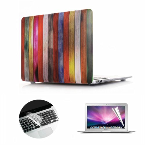 Se7enline 3 in 1 Bundle Wood Grain Matte Plastic Hard Shell Case Cover for Macbook Pro Retina 13 inch A1502/A1425 with Clear Keyboard Skin and Screen Protector,Colorful Wood Texture Pattern Print