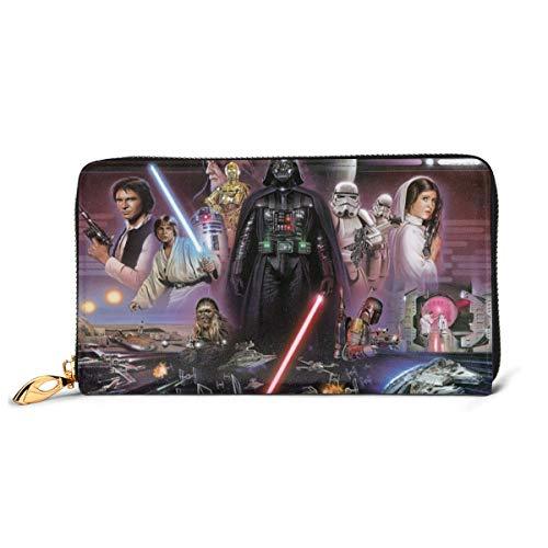 Star Wars Stormtroopers Darth Vader Geldbörse RFID-blockierendes Echtleder-Portemonnaie mit Reißverschluss um Kartenhalter Organizer Clutch