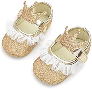 Baby Shoes Baby Girl Shoes Lace PU Leather Princess Newborn Baby Crown Shoes, Size:13cm(Gold) Baby Items (Color : Gold)