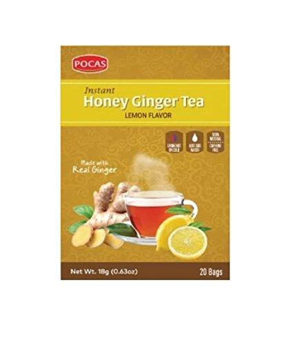 (40 Bags) Pocas Instant Ginger Honey Tea with Lemon 18g/0.63oz (Honey Ginger with Lemon)