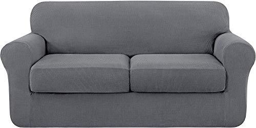 subrtex 2 Plazas Funda de Sofá de con 2 Cojines de Asiento Separados de Alta Elasticidad para Sillón Anti Arañazos Protector de Muebles Lavables (2 Plazas, Gris Claro)