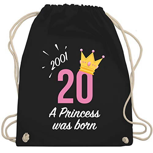 Shirtracer Geburtstagsgeschenk Geburtstag - 20 Geburtstag Mädchen Princess 2001 - Unisize - Schwarz - 20. geburtstag frau turnbeutel - WM110 - Turnbeutel und Stoffbeutel aus Baumwolle