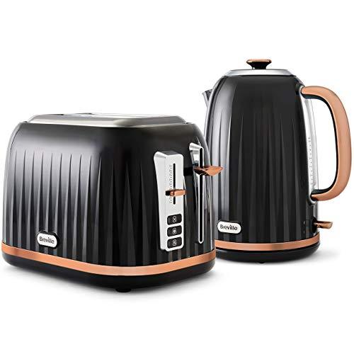 Impressionen Wasserkocher und Toaster Set | 1,7 Liter Wasserkocher | 2 Scheiben Toaster mit High-Lift und Breiten Schlitzen | Schwarz und Roségold [VKJ163 und VKT957]