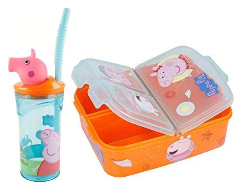 SL Pack de 2 pcs de Vaso y Fiambrera Fiambrera sandwicheras para niños, Vaso con Pajita a Prueba de Fugas sin BPA